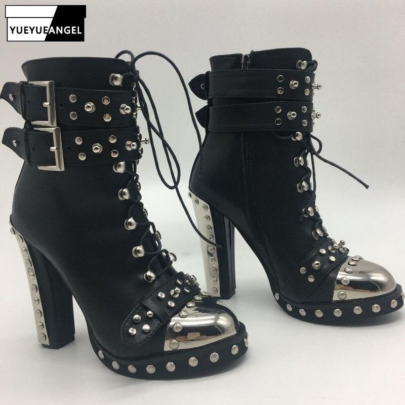 Punk talon haut bottines femmes mode métal bout rond Rivet boucle sangles talons chaussures noir à lacets bottes grande taille 42