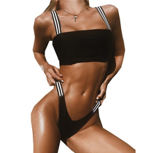 все цены на Black Contrast Stripe High Cut Cheeky Thong Sexy Bikini 2019 Summer Women Push Up Swimsuit Bandage Brazilian Swimwear female онлайн