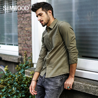 SIMWOOD 2018 Spring Winter Casual Shirts Men Slim Fit Vintage 100 Cotton Shirt Male Long Sleeve