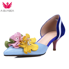 2018 Spring Autumn New Genuine Leather High Heels Shallow Women Flowers Pumps Pointed Toe Brand Shoes Wedding Shoes Party Shoes