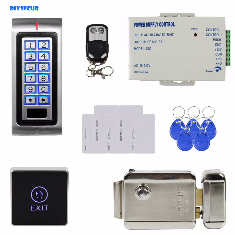 DIYSECUR Remote Controller 125KHz RFID Metal ID Card Reader Access Control System Security Kit +Electronic Lock + Touch Button leshp id card reader 125khz id card access control keypad kit access control system kit home office factory security