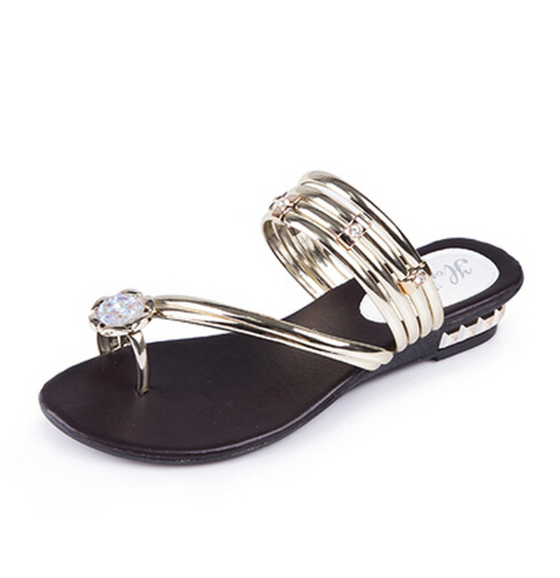 Women Slippers Nice Summer Sandals With Crystal Flats Sliders Fashion Women Shoes P2d23
