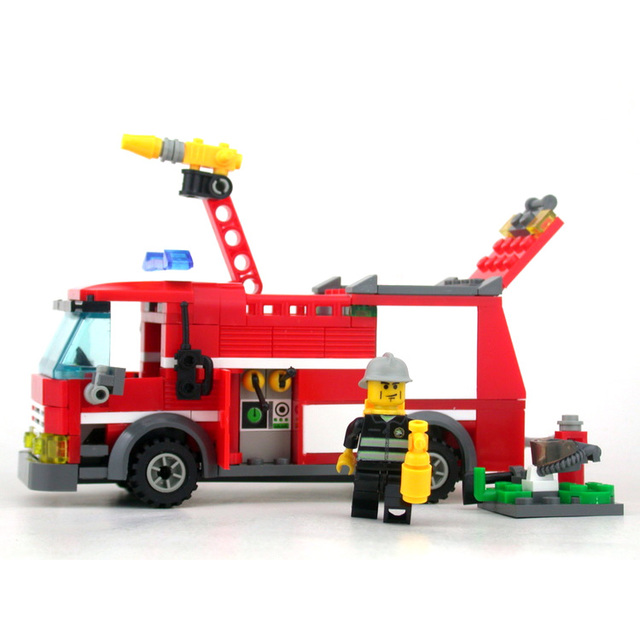 No box Jet fire truck Kazi 8054 206pcs building blocks 3D DIY assembling educational toys Children birthday gift Free Shipping