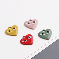 Wholesale 50PCs 14*15MM Cute Enamel Alloy Heart Eye Pendant Charms Drop Oil Trendy DIY Jewelry Ornament Accessories Charm Craft
