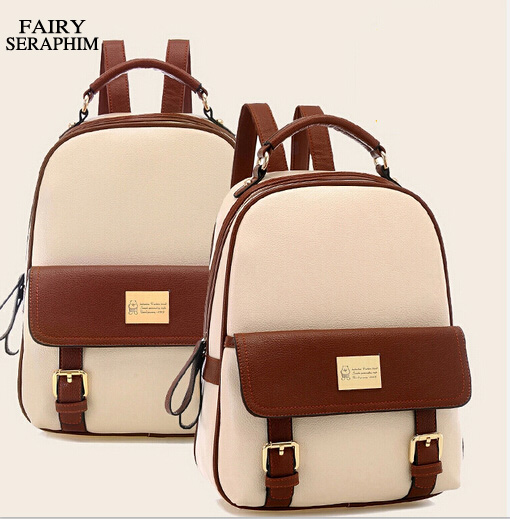 Fairy Seraphim Fashion Women Backpack Patchwork Bear Girl Student School Bags Ladies Pu Leather Mochila Escolar Travel Rucksack
