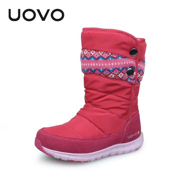 Uovo Зимние сапоги, модель 2017 года для Обувь для девочек брендовая модная детская одежда дождь Сапоги и ботинки для девочек Оксфорд Ткань теплые зимние сапоги Высокое качество Размеры 27 #-37 #