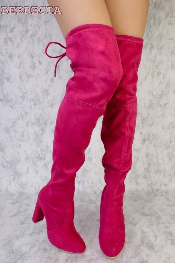 Cuir as Chaussures Bottes Dos Genou Longues Bretelles Picture Bout En Noir Picture Rouge Dessus Cuissardes De as Chunky Suédé Rond Talon Haute Lacent Noir Du OEzxqg