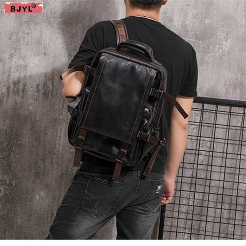 BJYL Genuine Leather mens  backpack retro handmade oil wax crazy horse leather male shoulder bags travel 15 inch laptop bagBJYL Genuine Leather mens  backpack retro handmade oil wax crazy horse leather male shoulder bags travel 15 inch laptop bag