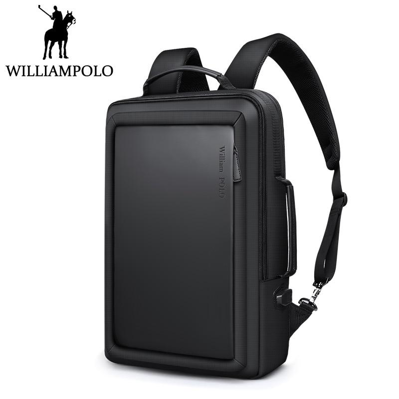 Williampolo Männer Rucksack Reise Rucksack Bagpack Street Fashion Büro Laptop Rucksack mit USB Lade Design Koreanischen Stil-in Rucksäcke aus Gepäck & Taschen bei  Gruppe 1