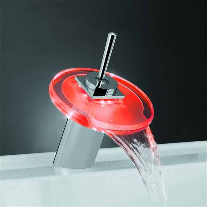 Hot LED cascade salle de bains robinet tour de verre bassin évier Mixer Chrome robinet d'eau