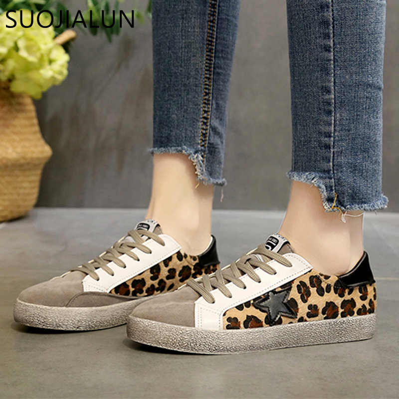 ... SUOJIALUN Sneakers Shoes Women Leather Do Old Dirty Shoes 2018 Autumn Women  Casual Trainers Mixed Color ... d86f65718165