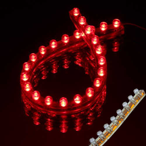 Amico 24 LED Waterproof Flexible Car Vehicle Red Light Strip