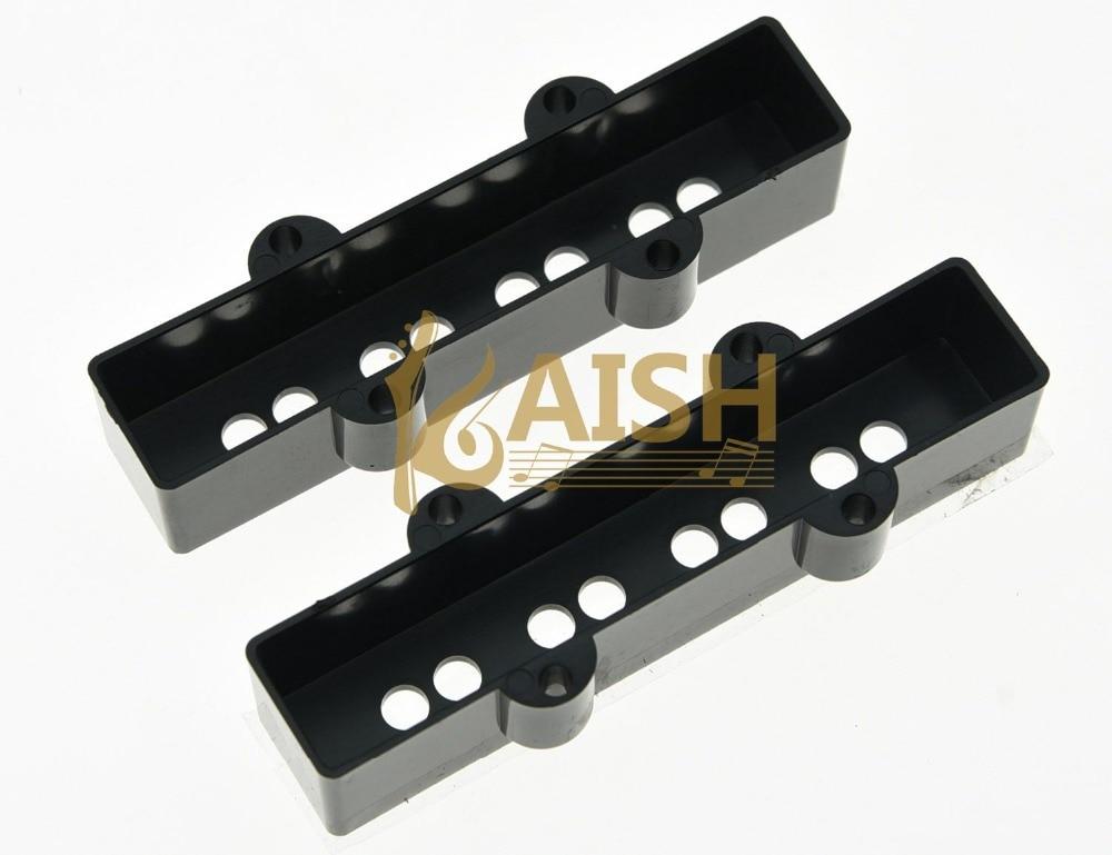 KAISH Set of 2 Jazz J Bass 4 String Pickup Covers Neck and Bridge Black kaish black p90 high power sound neck