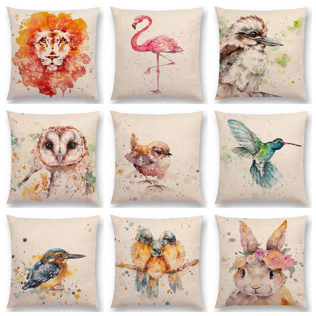 Watercolor Animals Robin Flamingos Kookaburras Lion Flowers Butterfly  Ladybug Lane Bird Wren Beautiful Cushion Cover Pillow Case 1871b93ee6f5