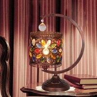 Богемия красочные настольные лампы теплая спальня лампа Кристалл Романтический лампы Ретро; Сельский Континентальный Железный бронза Нас