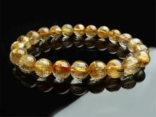 High Quality Natural Gold Rutilated Quartz Titanium Crystal Woman Man 9mm Wealthy Round Beads Bracelet Jewelry Bangle AAAA