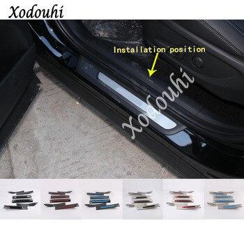 car inner inside threshold bumper trim stainless Steel scuff sill trunk plate pedal 4pcs For Hyundai Santa Fe SantaFe 2019 2020