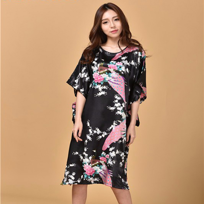 <font><b>Sexy</b></font> Black <font><b>Female</b></font> Silk Rayon Robe Bath Gown Nightgown Summer Casual Home Dress Printed Peacock Sleepwear <font><b>16</b></font> Colors image