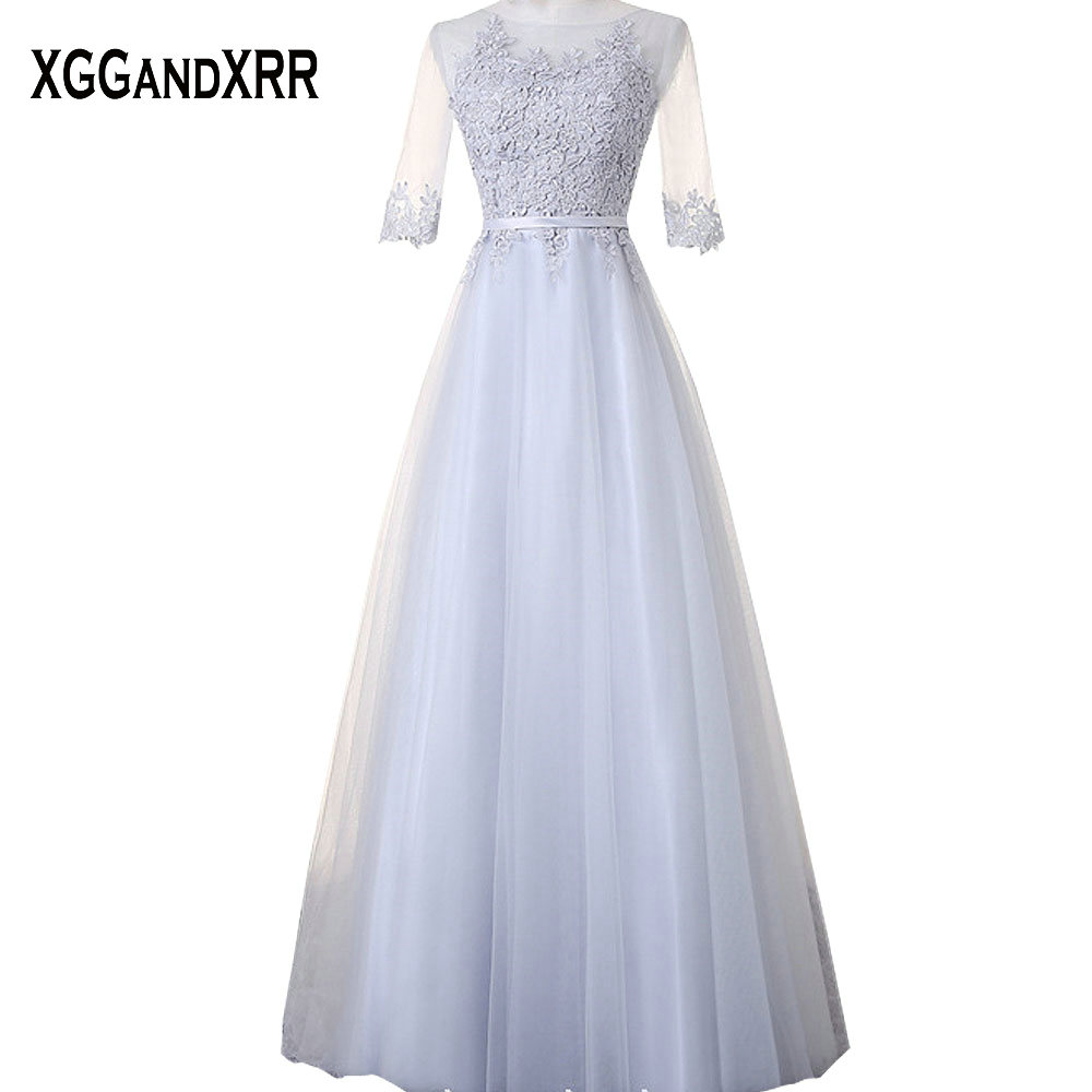 Hot Sale Tulle A-Line Bridesmaid Dresses 2018 Scoop Appliques Hollow Back Prom Dresses Half Sleeves Dresses For Wedding Party