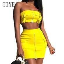 TIYE Yellow 2 Piece Sets Zipper Dress Summer Sexy Strapless Bodycon Mini Dresses Night Party Club Vestidos Wrap Retro