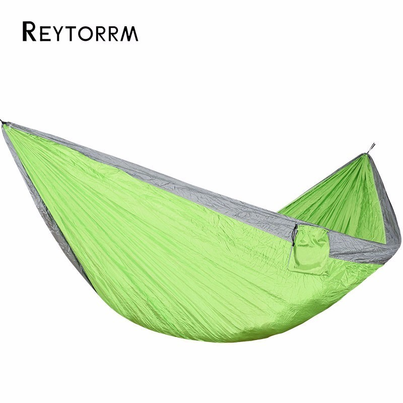 300*175cm Lightweight Camping Hammock With Two Strenght Carabiner And Rope Portable Hanging Hamak For Outdoor Indoor Relax Hamac 2 people portable parachute hammock outdoor survival camping hammocks garden leisure travel double hanging swing 2 6m 1 4m 3m 2m