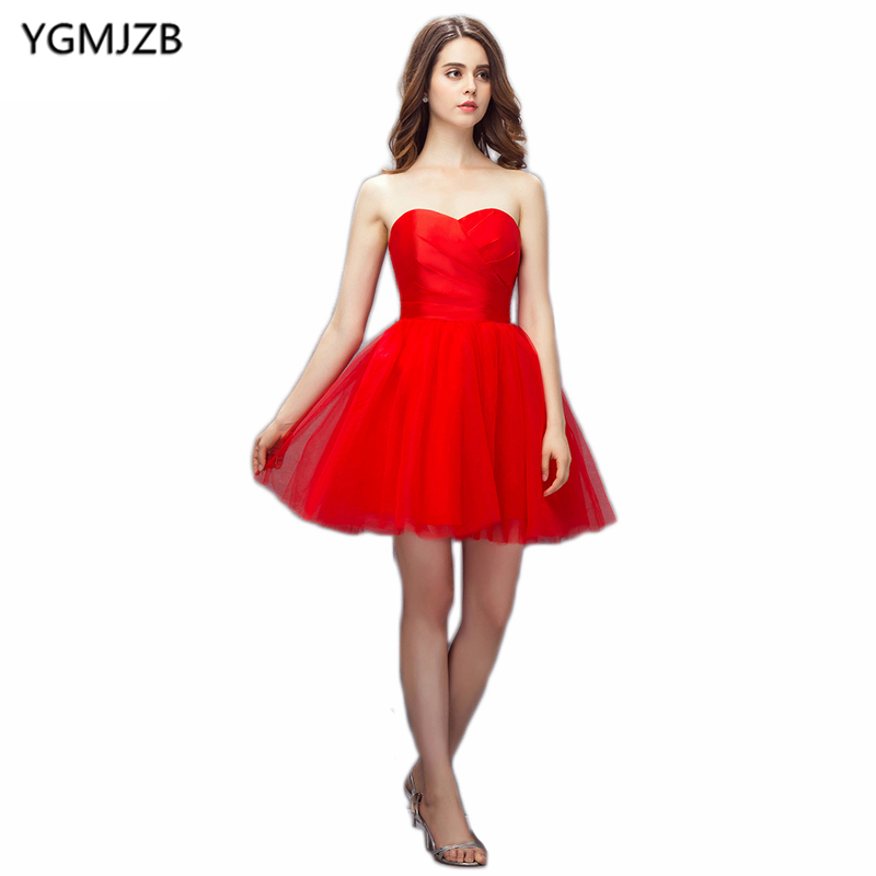 Cheap Red Cocktail Dresses 2018 A Line Sweetheart Sleeveless