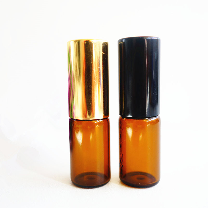Image 4 - 50pc/lot 1ml 2ml 3ml 5ml 10ml 12ml Amber Roll on Glass Bottle  Aluminum Roller Perfume Bottle Empty Roll On Parfum Sample Bottle-in Refillable Bottles from Beauty & Health