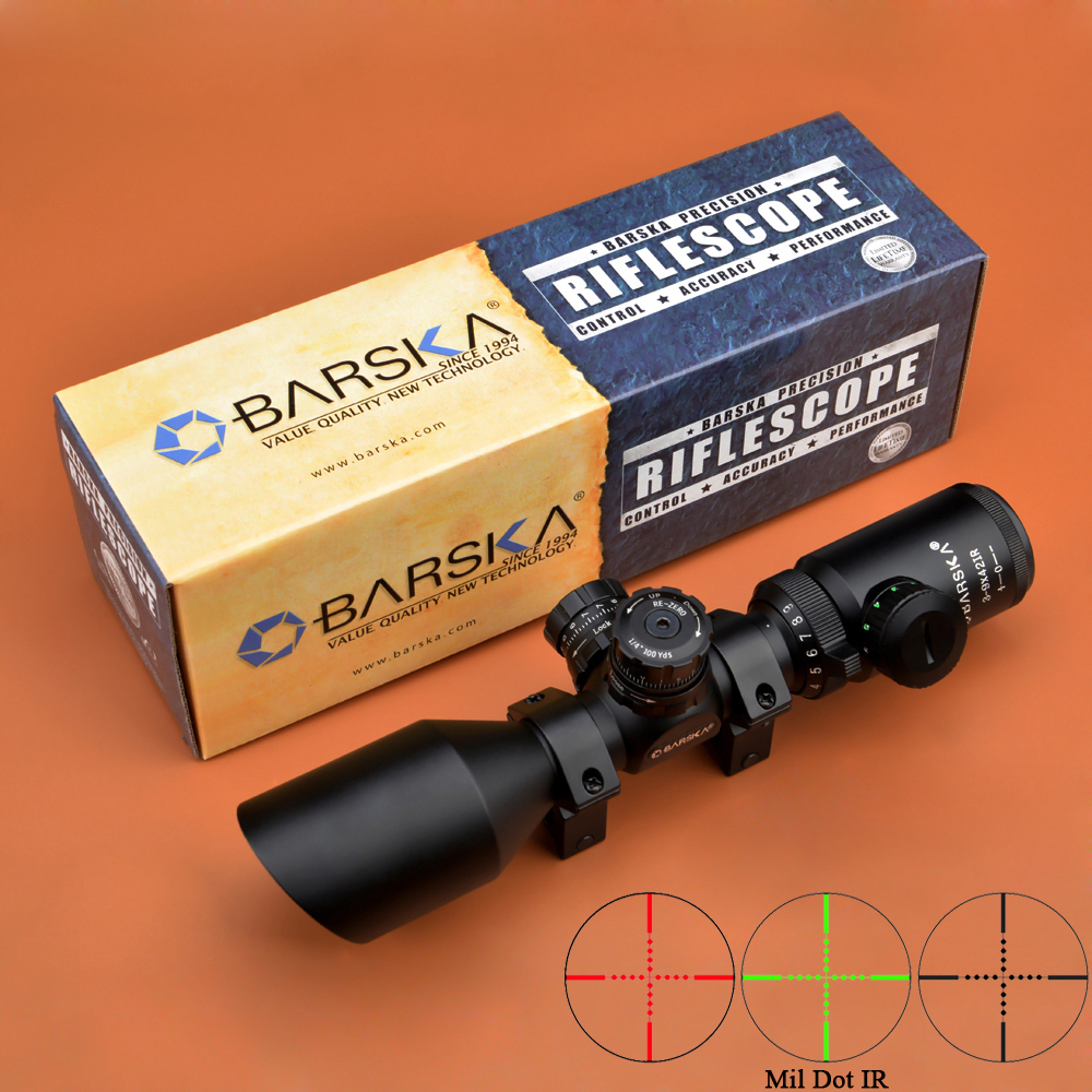 BARSKA Riflescope 3-9x42 R/G Compact Scopes Angled Objective for AR15 M4 M16 Hunting Rifle Scope With Weaver Mounts visionking opitcs 3 9x42 rifle scope mil dot tactical hunting long eye relief military sight 30mm for ar15 m16 m4 riflescopes