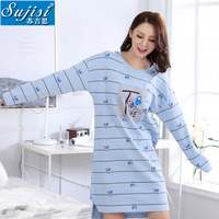 Winter nightgowns for woman loose pure cotton Cartoon printing sleepshirts female Round collar long sleeve home clothing women