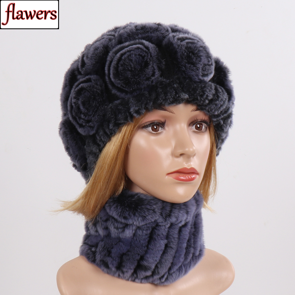 Winter Genuine Fur Scarf Hat Sets Women Good Elastic Knitted Real Rex Rabbit Fur Scarves Hats Lady 100% Natural Fur Scarves Caps