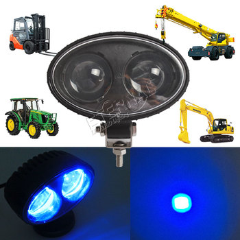 free ship 2x 10W blue spotlight led forklift safety lamp warning signal for construction material industry equipment