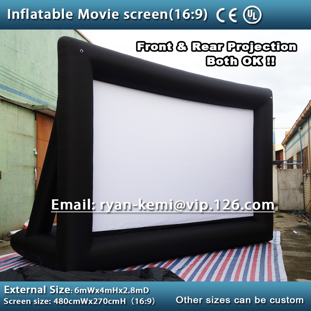 Free shipping 6x4m 16:9 inflatable movie screen inflatable rear projection movie screen inflatable film screen full pvc inflatable movie screen giant outdoor inflatable movie screen