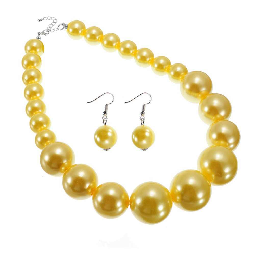Women's Jewelry Luxury Pearl Resin Statement Dangle Bib Necklace Earrings Set Beads Necklaces Women Jewelry 11 Colors