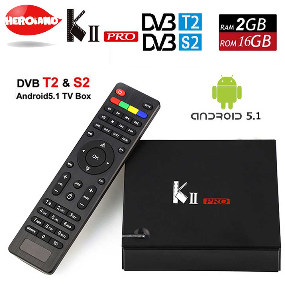 KII PRO DVB S2 T2 Android TV Box 2GB 16GB DVB-T2 DVB-S2 Android 5.1 Amlogic S905 Quad-core WIFI K2 pro 4K Smart set top TV Box mxiii pro android amlogic s812 quad core 2g 8g 5g wifi tv box