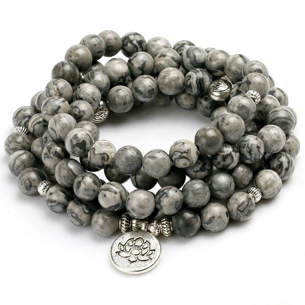 New Energy 8mm Beads Natural Light Grey Map Stone Beaded Charm Bracelet Men Women Bangle Lover Gift Design Yoga Jewelry