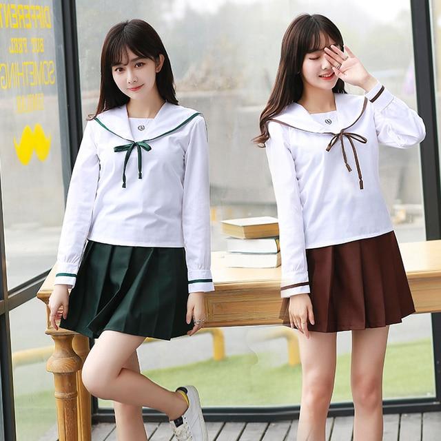 Long Sleeve Japanese Korea Girls School Uniform Students -8546