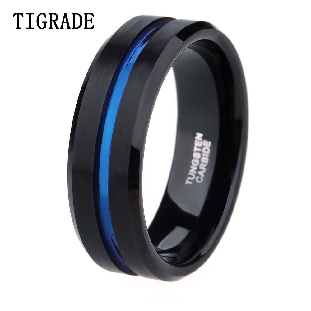 8mm Men Black Tungsten Carbide Ring Thin Blue Line Wedding Band Vintage Men Jewelry Anime Anel Masculino Aneis Alliance