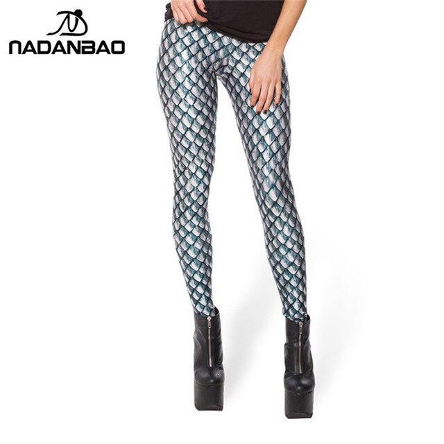 24da4352be94 NADANBAO Black Milk New Silver Dragon Scales Print Leggings for Women  Skinny Long leggins women pant