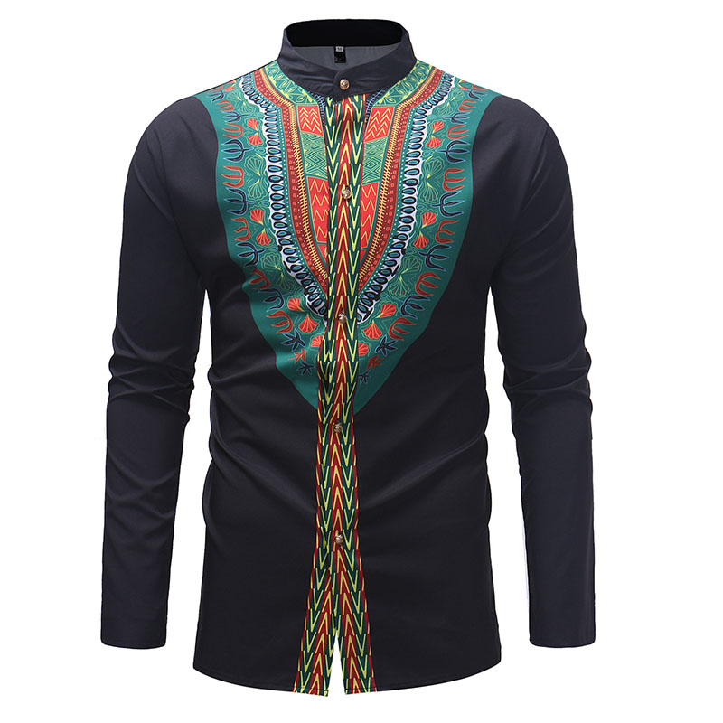 Adult Men Black Dashiki Print Green Polished Button Up Shirt With Long Sleeves African Wear High Collar Top Blouse For Male