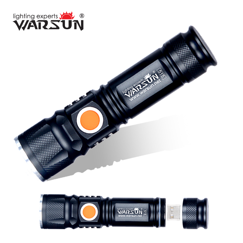 WARSUN USB-Charger Powerful Lanterna Tactical Torch  Flash Light Linterna LED Zoomable For Hunting Gladiator Zaklamp Flashlight 2000lumens q5 led flashlight torch zoomable rechargeable led flash light with usb input output for fishing charger holder