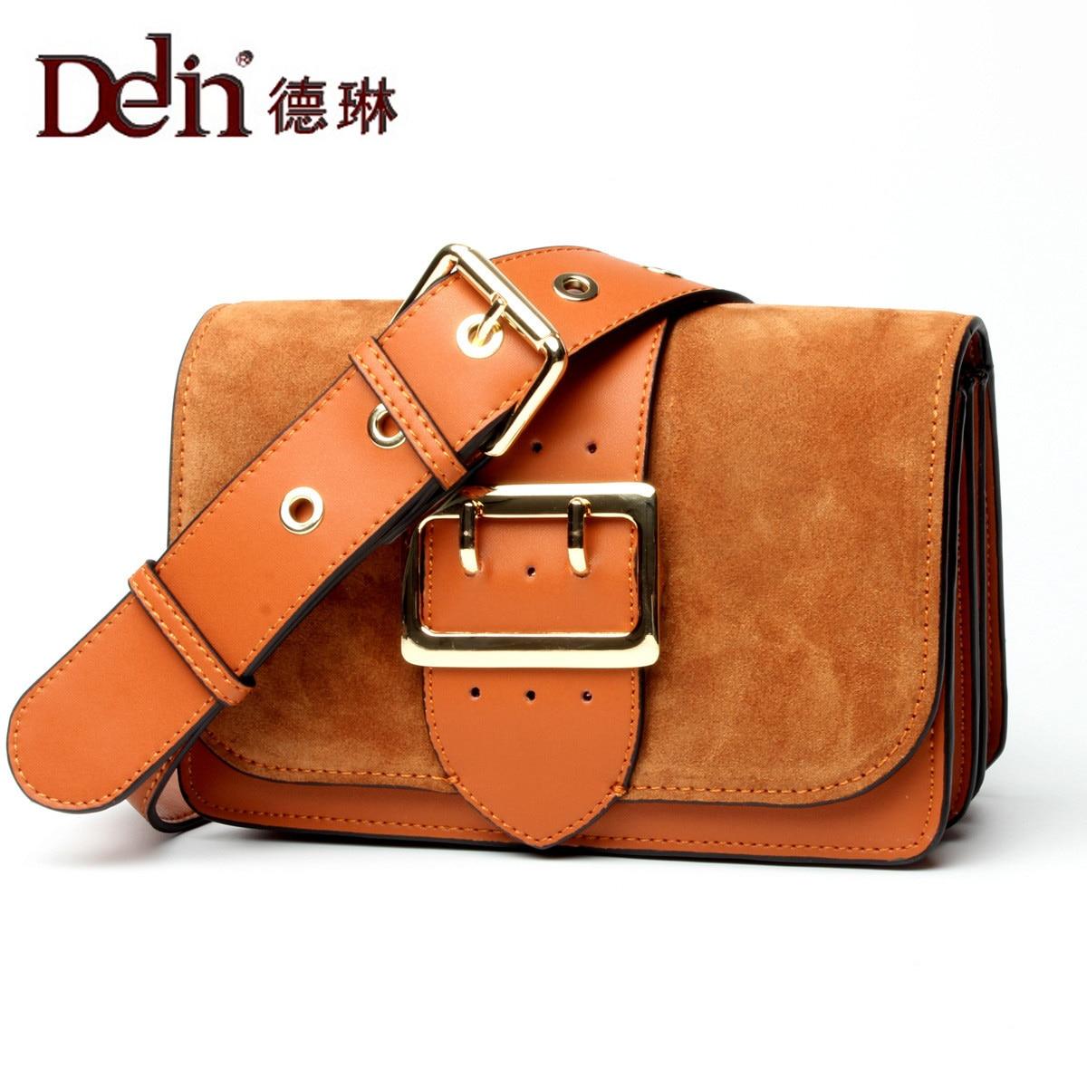 купить DELIN Female bag 2017 new tide leather handbag fashion leisure shoulder oblique cross bag  leather bag недорого