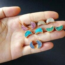 WT E282 Thời Trang Tiny druzy Lưỡi Liềm Earrings đối với phụ nữ đồ trang sức quà tặng thiên nhiên druzy đá với 24 k vàng strim đá bông tai