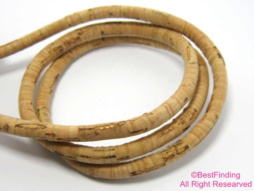 6mm Cork leather cord Stitched Round Portuguese cork leather Natural color in Jewelry Findings Components from Jewelry Accessories
