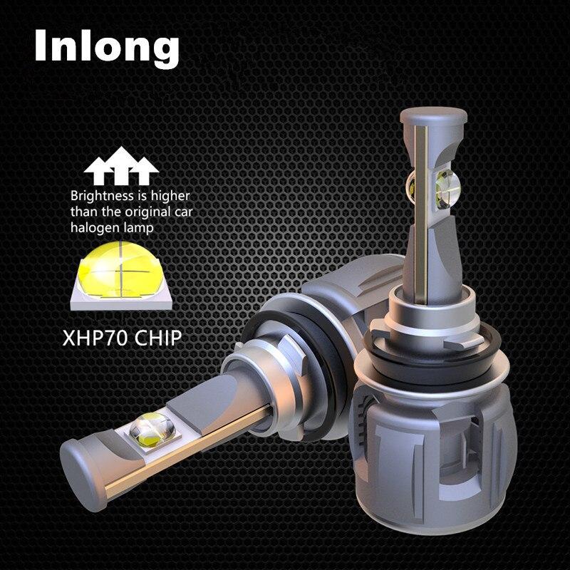 Inlong 2 pcs H4 H7 Voiture LED Phare Ampoule H11 H8 9005 9006 HB4 H9 D4S D2S D1S XHP70 Puces 120 w 15600LM Phare Brouillard Lumières 6000 k
