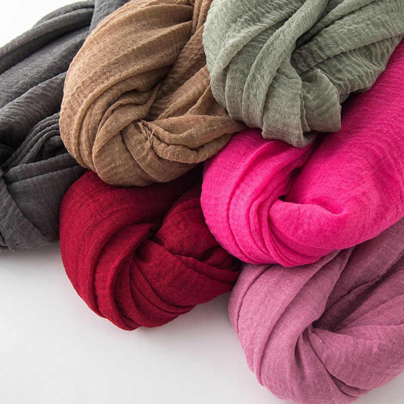 2019 inverno chiffon mulheres lenço de Cabeça Muçulmano hijab Hijab Lenços de Boa Qualidade cor sólida senhoras headband do algodão Crinkle xale