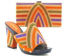 Afrikanische Mode stil schuhe und tasche set, italienisches design hohe schuhe mit passender tasche für die partei ORANGE HOT11.11