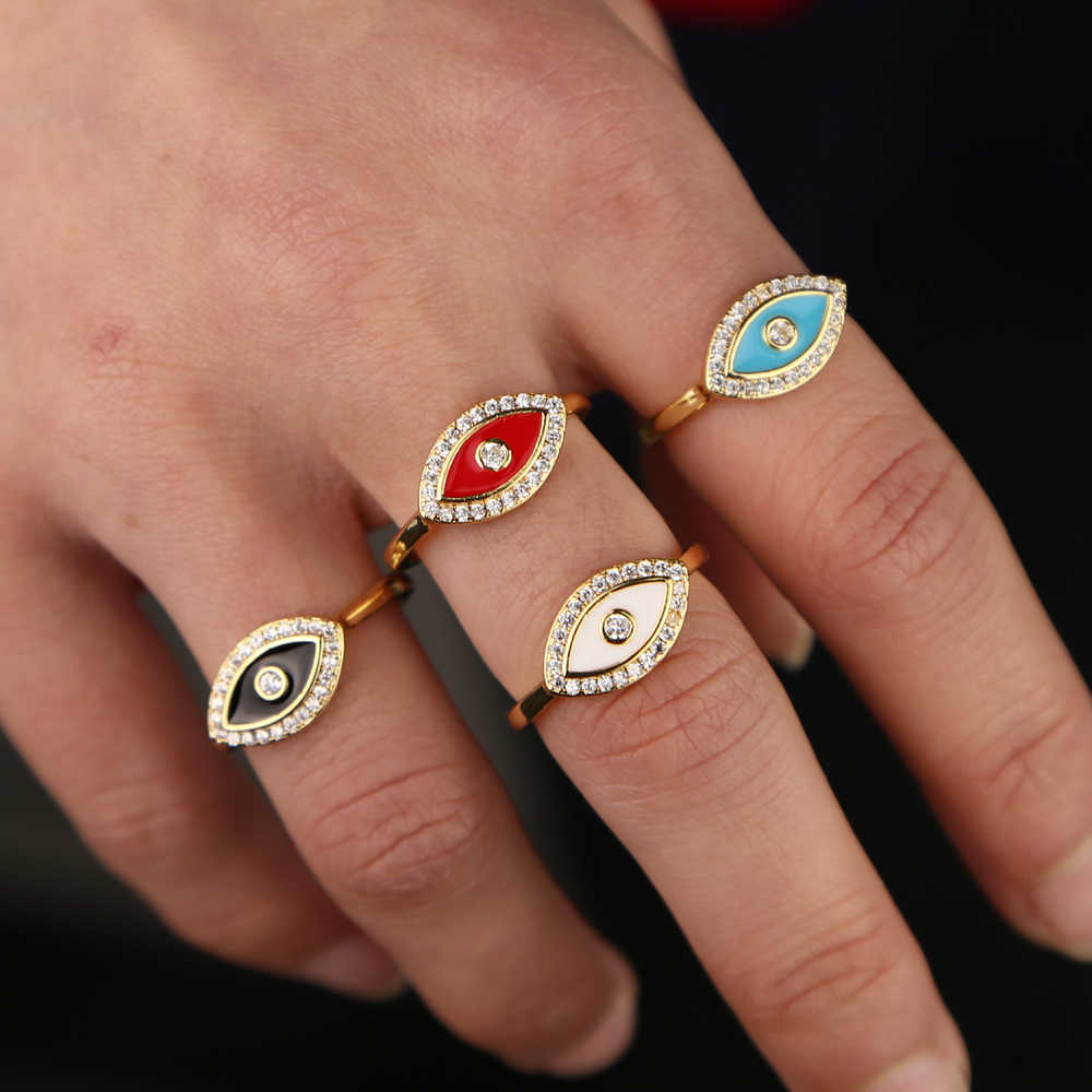2019 ออกแบบใหม่สีแดงสีดำสีฟ้าสีขาว enamel evil eye cz lucky boho ตุรกีเครื่องประดับ Gold filled นิ้วมือผู้หญิงแหวน