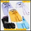 Бесплатная доставка Slim fit 38-45 Hombres де camisa бизнес контраст воротник и манжеты бренд Французский манжеты рубашки для мужчин QR-2070