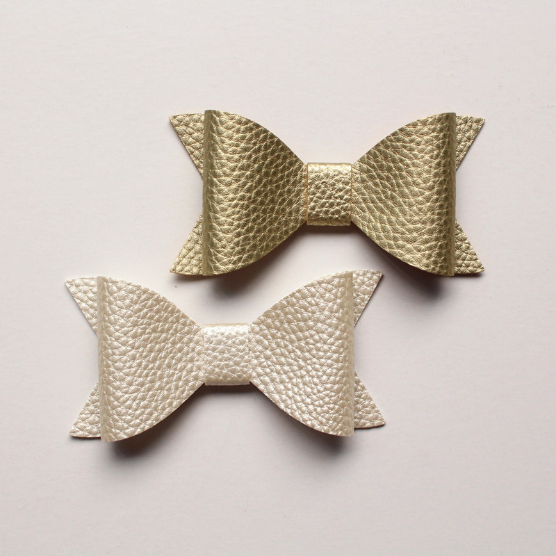 20PCS 7.5CM Hot Sale Synthetic PU Leather Bows Knot For Hair Accessories NO clip