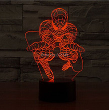 Free Shipping 1 Piece Colorful 3D Glowing  LED Table Lamp Spider Man 3D LED Night light holiday decoration lighting